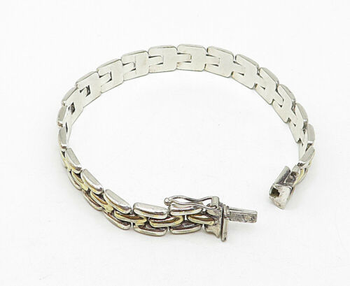 925 Sterling Silver - Vintage Brick Layer Style Shiny Chain Bracelet - B5256