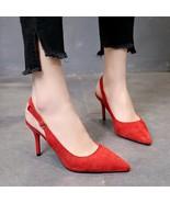 Women platform pumps Pionted Toe Buckle Casual Comfortable Work High Hee... - $21.87+