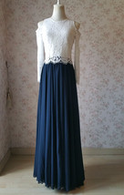 Navy Bridesmaid Sets Dress Full Chiffon Skirt Hollow Long Sleeve Crop Lace Top image 3