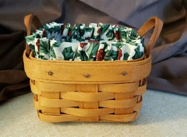 Longaberger SWEET BASIL BASKET Leather Straps Holly Fabric Liner Protector - $16.00