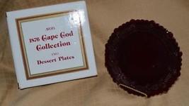 """2 Avon Cape Cod Dessert Salad Plates Dishes 1980 7.25"""" Ruby Red w/Box un... - $9.69"""