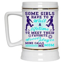 Mine Calls Me Mom Beer Stein 22oz, Their Favorite Soccer Player Beer Mug - $26.99