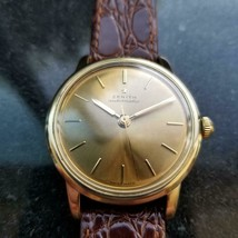 Mens Zenith 35mm 18k Solid Gold Automatic Dress Watch, c.1970s Vintage LV851 - $4,554.00
