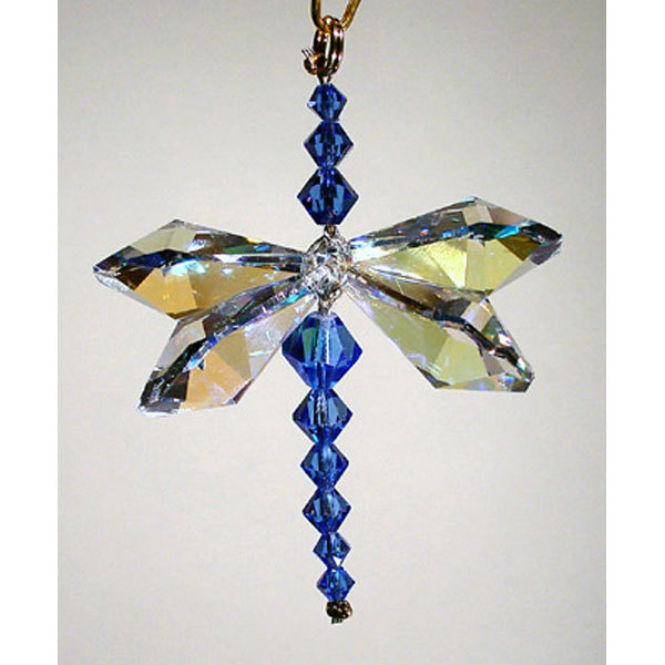 Aurora Borealis Crystal Dragonfly with Sapphire Body