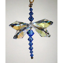 Aurora Borealis Crystal Dragonfly with Sapphire Body image 1
