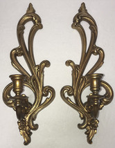 Syroco Wall Sconces Pair 2336 Gold Made in USA Vintage Hollywood Regency... - $48.99