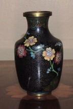 "Vintage Cloisonne 3.75"" Vase Plated Copper Black Enamel Stone China Antique - $19.99"