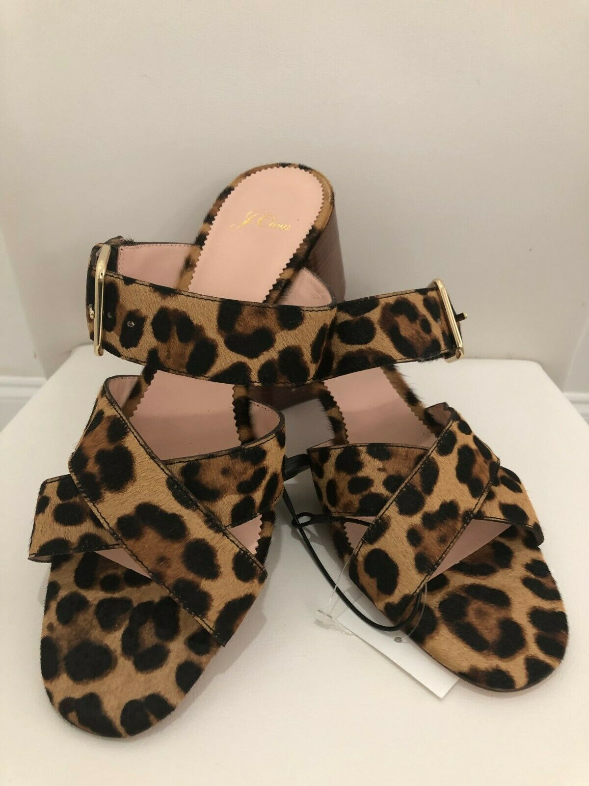 Primary image for J.CREW Leopard Print Calf Hair On Leather Sandals/Slides Sz. 10.5 $198  NEW