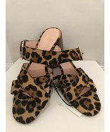 J.CREW Leopard Print Calf Hair On Leather Sandals/Slides Sz. 10.5 $198  NEW - £75.30 GBP