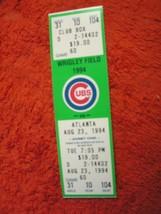 MLB 1994 Chicago Cubs Ticket Stub Vs Atlanta Braves 8/23/94 - $3.49