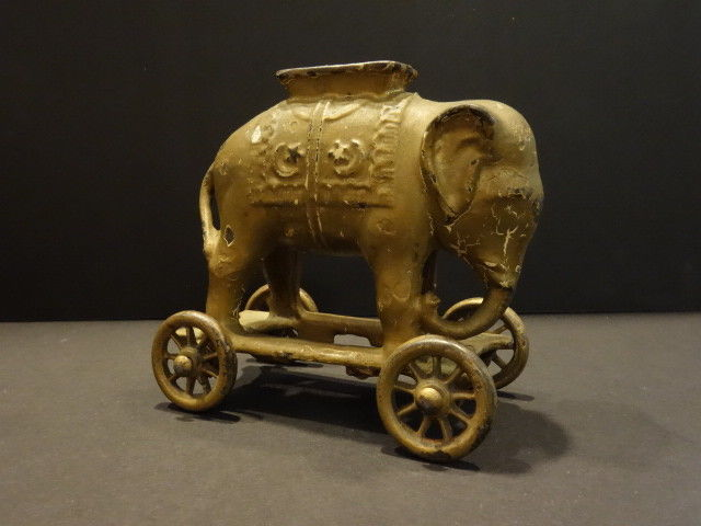 All Original A.C.WILLIAMS Golden Elephant On Wheels Cast Iron BANK 1920
