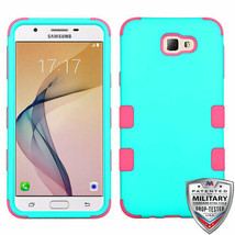 For SAMSUNG Galaxy J5 Prime Rubberized Green/Pink TUFF Hybrid Case Cover - $13.39