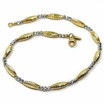 Bracelet or Jaune Blanc 18K 750, Sphères Et Ovales, Ngénierie, Alterné image 1