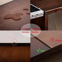 HUVIBE Bamboo Dual Monitor Stand Riser with Length and Angle Adjustable, 3 Shelf image 5