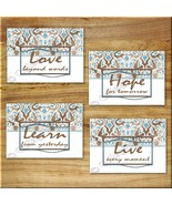 Wall Art Prints Blue Brown Damask Decor Quotes Learn Live Love Hope Inspiration - $13.97