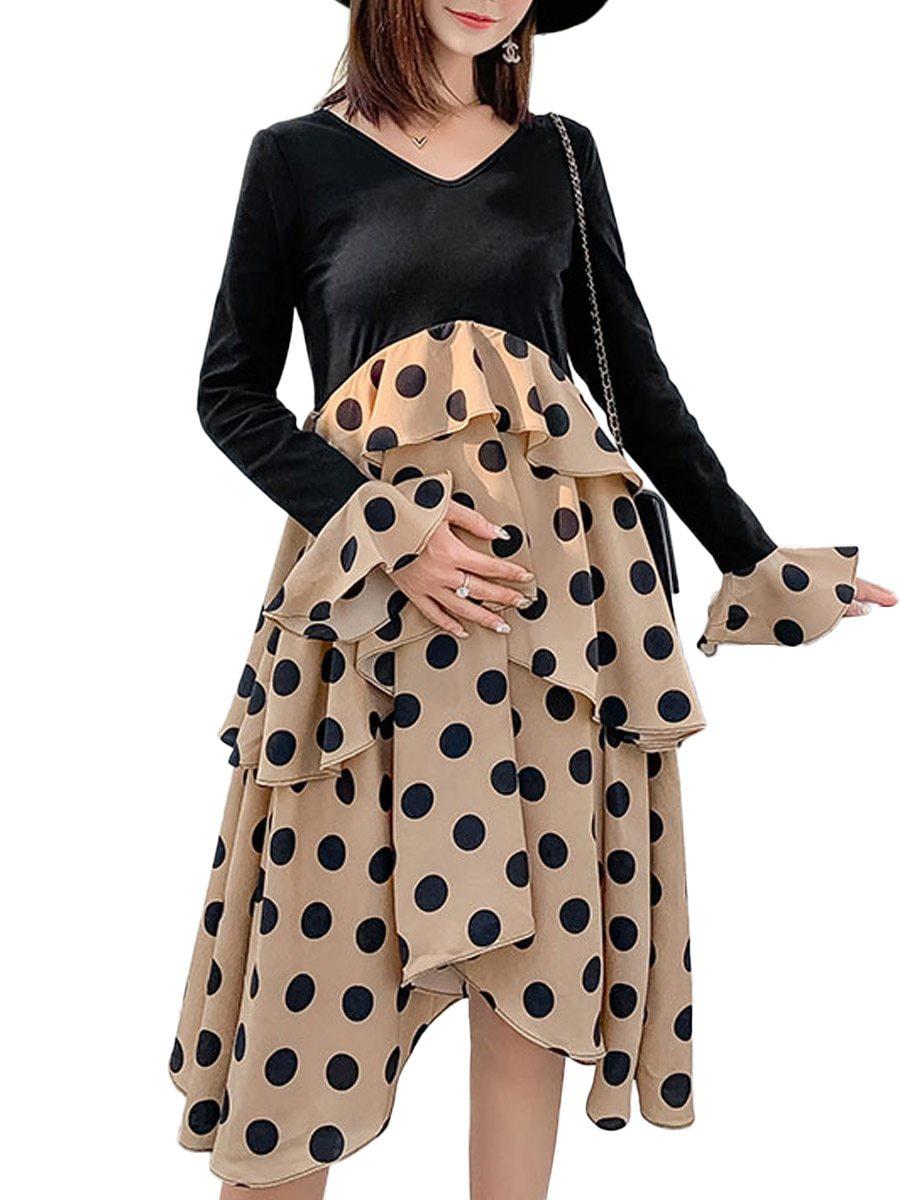Maternity's Dress V Neck Polka Dots Pattern Patchwork Design Dress