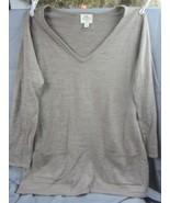 Women's Lightweight Long Sleeve Tan Sweater St John's Bay Size Lg ~ Pockets - $13.99