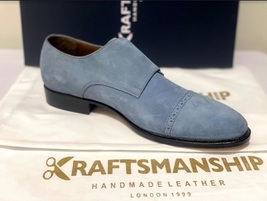 Handmade Men's Gray Suede Double Buckle Strap Dress/Formal Shoes image 9
