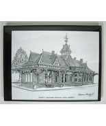 Drawing Tenfly Railroad Station Eugene Kneloff Signed Pen Morristown New... - $59.39