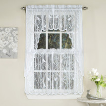 Knit Lace Bird Motif Kitchen Window Curtain Tiers, Swags or Valance White - $11.49+