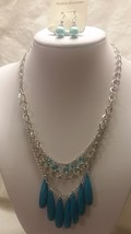Fashion Silver Tone Necklace Blue Beads Three Strand Bib With Earrings - $9.99