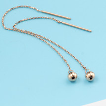 Ear Thread Series 18k Rose Gold Mesh Chain Smooth Ball Dangle Earrings image 2