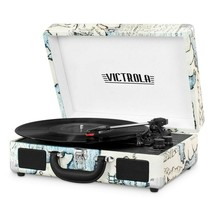 Victrola VSC-550BT-P4 Bluetooth Suitcase Record Player Turntable Map Pri... - £45.32 GBP