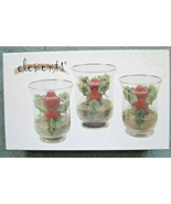 Elements Set Of 3 Christmas Holly Hurricane Glass Candle Holders Hand Pa... - $13.37