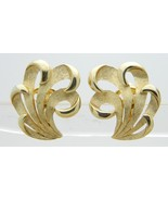 CROWN TRIFARI Gold Tone Feather Mid Century Clip Earrings - $29.70