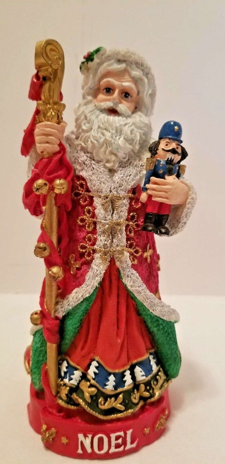 Primary image for Signed Jaimy Noel Old World Santa Claus w/ Nutcracker & Staff Christmas Figurine