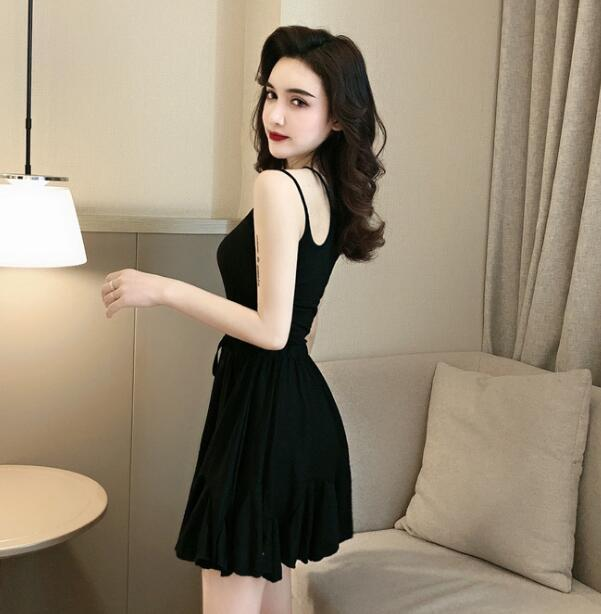 Solid color sexy off-the-shoulder personality unilateral sling skater dress