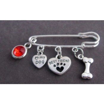 Primary image for Love my dog Brooch, brooch for clothes and bags, Dog Lover I LOVE My DOG
