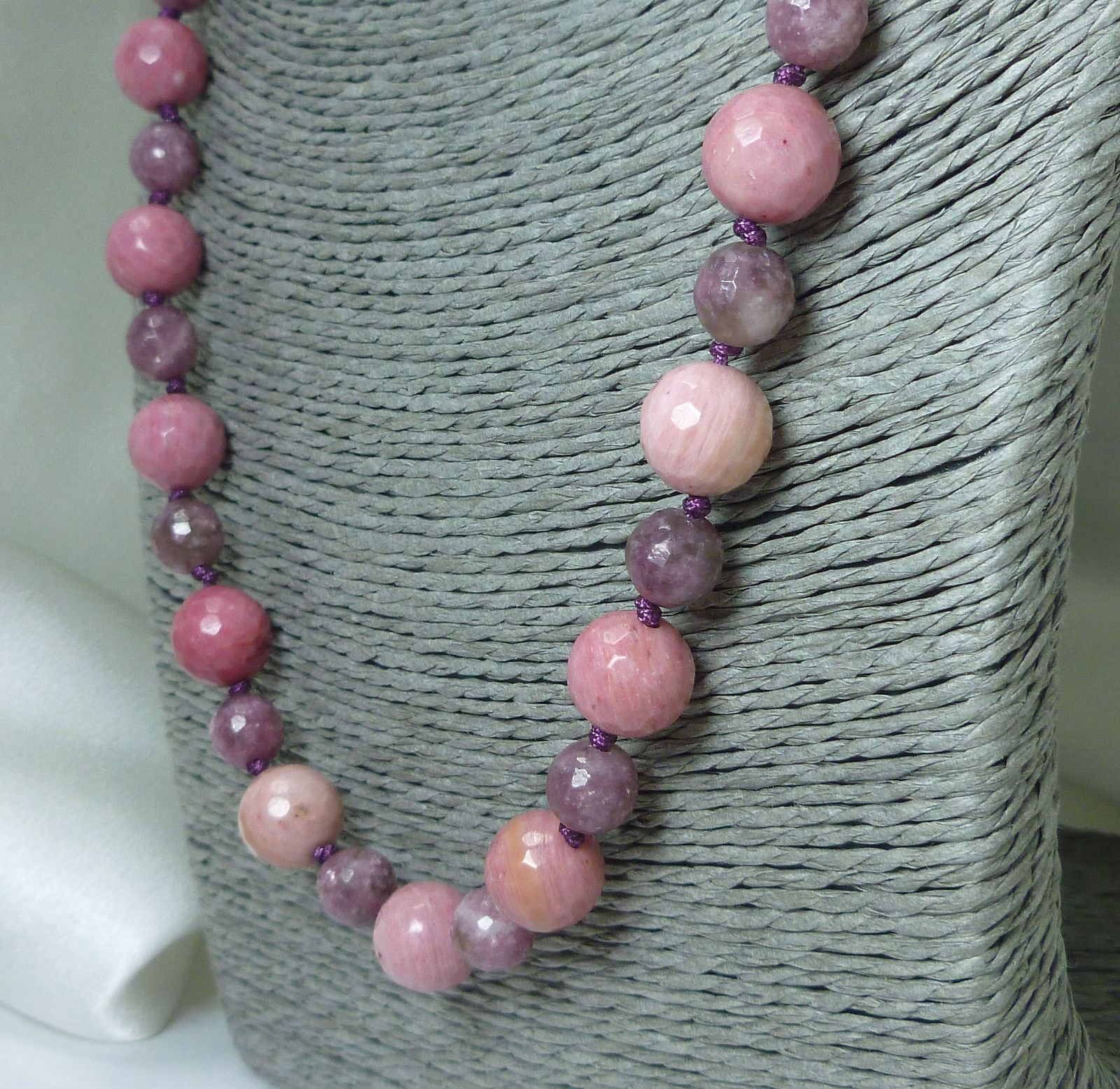 Rhodonite and Lepidolite Round Gemstone Beaded Necklace