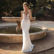 Sexy Illusion Deep V- Neck Spaghetti Straps  Backless Lace Appliques Mermaid Wed image 5