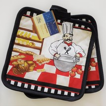 FAT CHEF KITCHEN SET 7pc Towels Pot Holders Dishcloths Black Red French Cook image 2