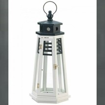 "Large Wood Lighthouse 19"" Tall Lantern  Candleholder Centerpiece - $21.63"