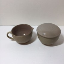Creamer & Sugar with Lid Mikasa Potter's Art Cafe Latte Stoneware Brown  - $24.18