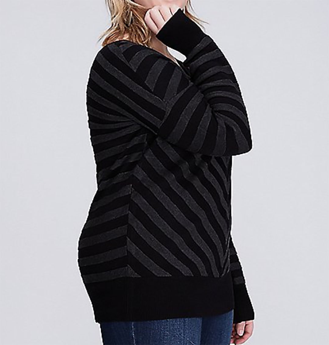 ba98cd8e094 Lane Bryant Womens Sweater 14 16 Double V-Neck Chevron Striped Black  Mitered New