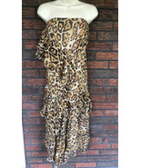 Silk Leopard Dress Small Strapless Lined Ruffled Tiers Dancing Party Dre... - $39.20