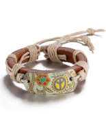 Girls Peace Sign Leather Adjustable Bracelet Accessory MSRP $22.00 YOU S... - $17.00