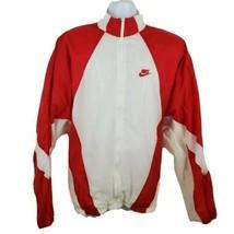 Nike Vintage 90s Track Jacket White Red Trim Size XL S50801 - $74.24