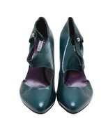 Auth Versace Teal Leather Solide Round Toe Heels Pumps Size39.5 US9.5 - $182.33