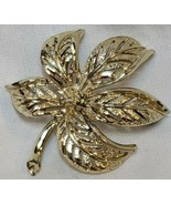Sarah Coventry Reticulated Leaf Brooch Pin Gold Tone Jewelry Vintage 198... - $10.87