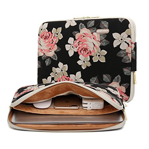 KAYOND Black Rose Patten canvas Water-resistant 14.1 Inch Laptop Sleeve