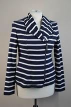 Talbots S Navy Blue White Stripe Asymmetrical Zip Cotton Blazer Jacket - $29.45