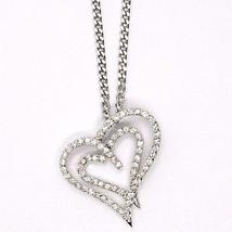 SILVER 925 NECKLACE, CHAIN GRUMETTE, PENDANT PENDANT DOUBLE HEART, ZIRCON image 2