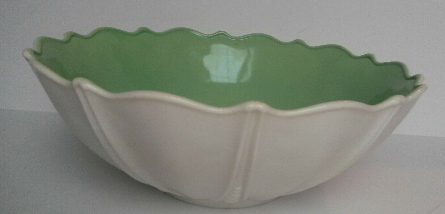 Milk Glass Bowl Mint Green Cased Anchor Hocking Oyster and Pearl Scalloped Rim