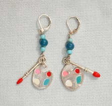 Handmade Artist Pallet & Brush Dangle Earrings - Gemstones and Leverbacks - $14.99