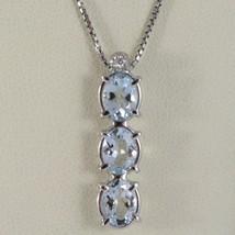 18K WHITE GOLD NECKLACE, AQUAMARINE TRILOGY PENDANT WITH DIAMOND, VENETIAN CHAIN image 1