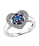 Heart Shaped Neon Apatite and White Topaz Ring 1.50 carats   Size 8 - $87.99